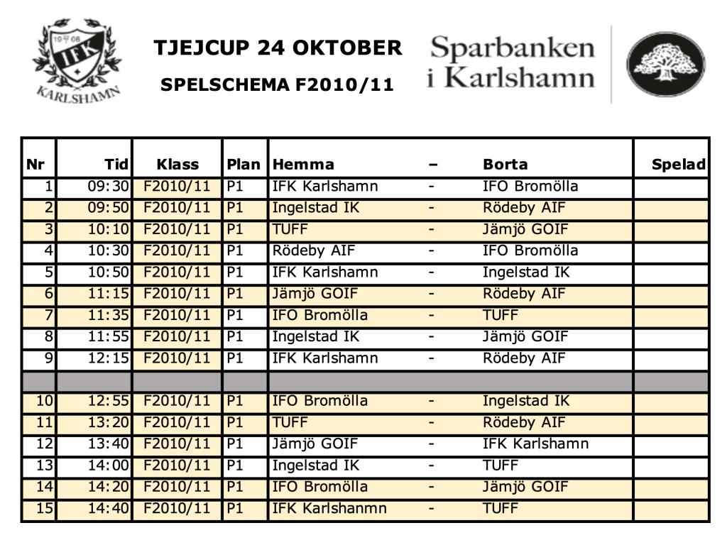 Spelschema F2010/F2011 24 Oktober 2021